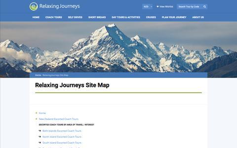 Screenshot of Site Map Page relaxingjourneys.co.nz - Relaxing Journeys | New Zealand | Contact Us - captured Dec. 15, 2016
