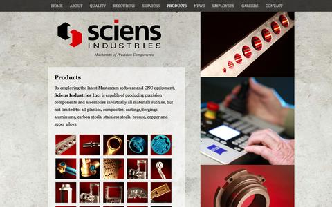 Screenshot of Products Page sciensindustries.com - Products | Sciens Industries - captured Oct. 4, 2014