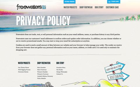 Screenshot of Privacy Page freewaters.com - Freewaters | Privacy Policy | Freewaters - captured Sept. 23, 2014