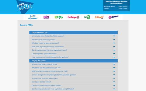 Screenshot of FAQ Page mylotto.co.nz - FAQs | Lotto NZ � MyLotto - captured Jan. 18, 2016