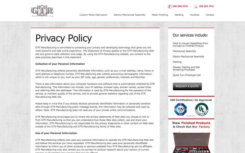 Screenshot of Privacy Page gtrmfg.com - » Privacy Policy  GTR - captured Oct. 22, 2014
