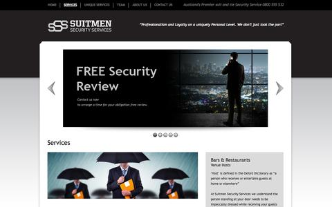 Screenshot of Services Page suitmen.co.nz - Suitmen Security Services - captured Oct. 7, 2014