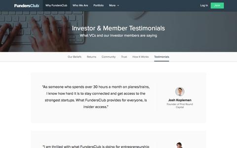 Screenshot of Testimonials Page fundersclub.com - Investor & Member Testimonials | FundersClub - captured Jan. 8, 2016