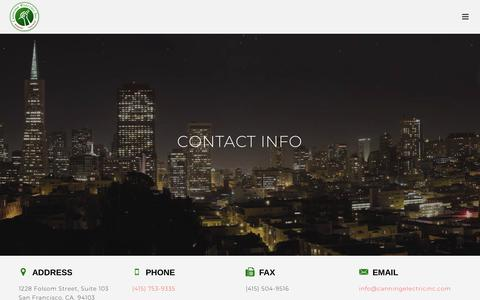 Screenshot of Contact Page canningelectricinc.com - Full Service Electrical Contractor in San Francisco | Canning Electric, Inc. - captured Sept. 26, 2018