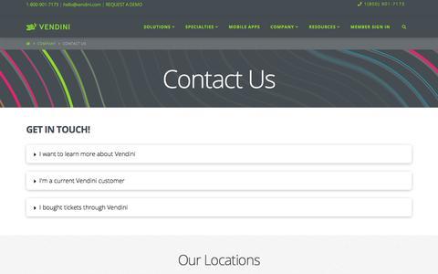 Screenshot of Contact Page vendini.com - Contact Us - - captured Aug. 12, 2019