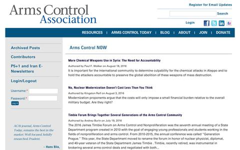 Screenshot of Blog armscontrol.org - Blogs | Arms Control Association - captured Aug. 27, 2016