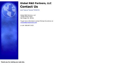 Screenshot of Contact Page grndpartners.com - Contact Us - captured Oct. 2, 2014