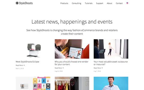 Screenshot of Press Page styleshoots.com - News - The latest customers, developments and stories from StyleShoots — StyleShoots - captured Sept. 24, 2018