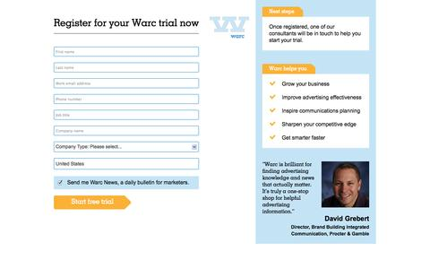 Screenshot of Trial Page warc.com - Register for your Warc trial now - captured Oct. 27, 2014