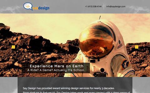 Screenshot of Home Page saydesign.com - Say Design   Los Angeles   Say Games - captured July 27, 2018