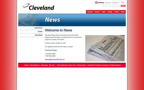 Screenshot of Press Page clevelandrange.com - Welcome to News - Cleveland Range - captured Oct. 28, 2014
