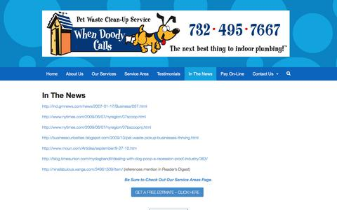 Screenshot of Press Page whendoodycalls.com - In The News - When Doody Calls - captured Nov. 14, 2017