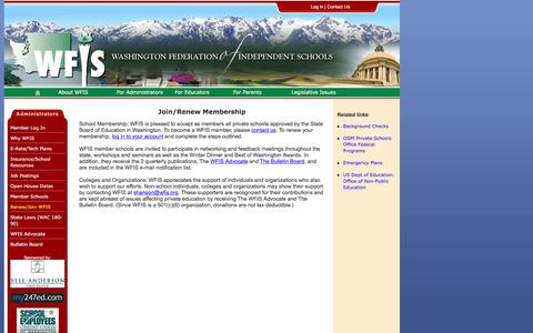 Screenshot of Signup Page wfis.org - WFIS : Washington Federation of Independent Schools - captured Jan. 12, 2016