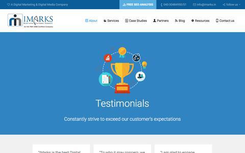 Screenshot of Testimonials Page imarks.in - Digital Marketing Testimonials in Hyderabad   Best Digital Marketing service provider in Hyderabad - captured June 29, 2017