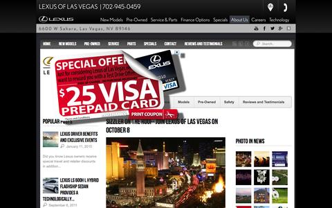 Screenshot of Blog lexusoflasvegas.com - Lexus of Las Vegas is a Las Vegas Lexus dealer and a new car and used car Las Vegas NV Lexus dealership. - captured Sept. 30, 2014
