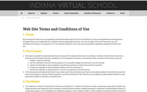 Screenshot of Terms Page indianavirtual.com - Terms and Conditions | Indiana Virtual School | Indiana Virtual School - captured Oct. 11, 2018