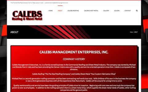 Screenshot of About Page calebsmanagement.com - Calebs Management - About Us - Calebs Roofing & Sheet Metal Shop - captured Sept. 26, 2018
