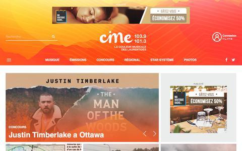 Screenshot of Home Page cime.fm - CIME FM - CIME FM - captured Sept. 24, 2018