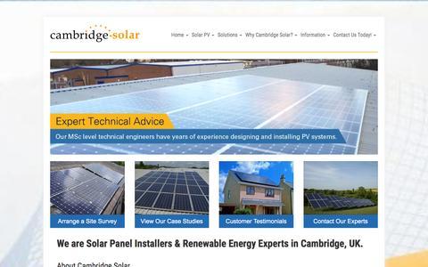 Screenshot of Home Page cambridge-solar.co.uk - Solar Panel Installers | Cambridge Solar Ltd | Cambridge Solar Panels - captured Jan. 25, 2016