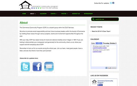 Screenshot of About Page cus.ca - About «  Commerce Community Program - captured Oct. 2, 2014