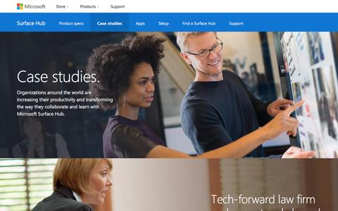 Screenshot of Case Studies Page microsoft.com - Microsoft Surface Hub | Case studies - captured July 3, 2016