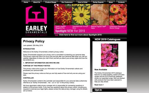 Screenshot of Privacy Page earleyornamentals.co.uk - Earley - Privacy Policy - captured Sept. 26, 2018
