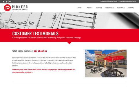 Screenshot of Testimonials Page pioneer-construction.com - Customer Testimonials – New Construction, Remodeling and Interior Design - captured Sept. 28, 2018