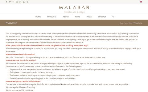Screenshot of Privacy Page malabar.com.pt - Privacy Policy - Malabar - captured Jan. 17, 2016