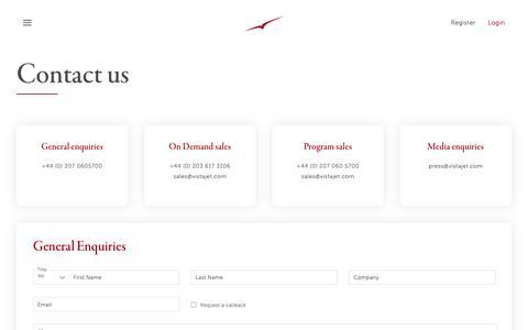 Screenshot of Contact Page vistajet.com - Contact VistaJet | International private jet charter - captured May 8, 2019
