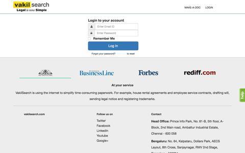 Screenshot of Login Page vakilsearch.com - Login - captured Feb. 13, 2016