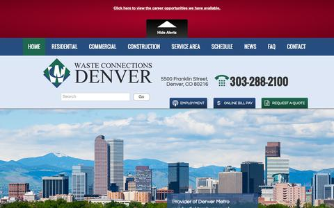 Screenshot of Home Page wcdenver.com - Waste Connections of Colorado – Denver | Front Range Trash & Recycling - captured Sept. 26, 2018