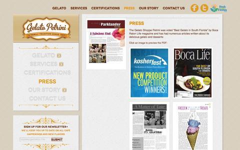 Screenshot of Press Page gelatopetrini.com - Press - captured Sept. 29, 2014