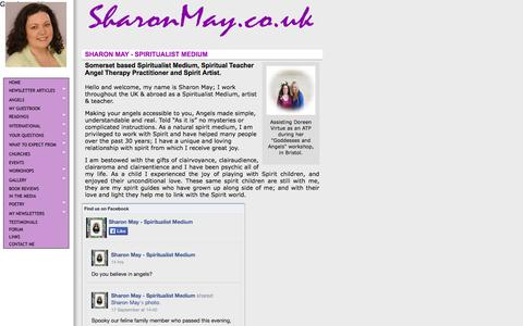 Screenshot of Home Page sharonmay.co.uk - Spiritualist medium, spiritual intuitive, artist & teacher - captured Sept. 30, 2014