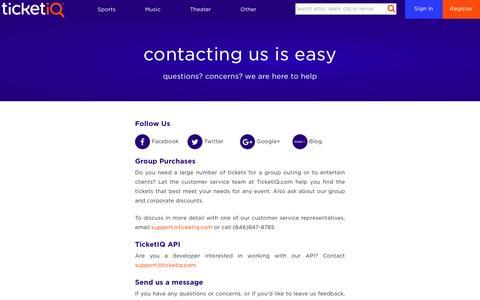 Screenshot of Contact Page tiqiq.com - Contact TicketIQ - captured May 9, 2017