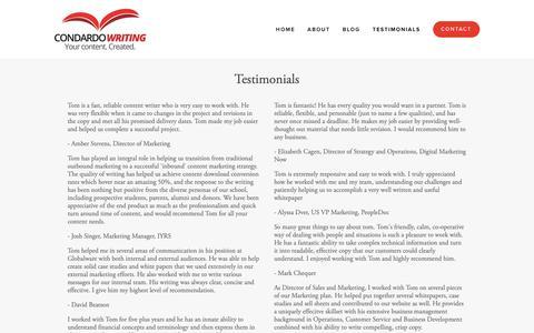 Screenshot of Testimonials Page condardowriting.com - Testimonials — Condardo Writing - captured Nov. 5, 2018