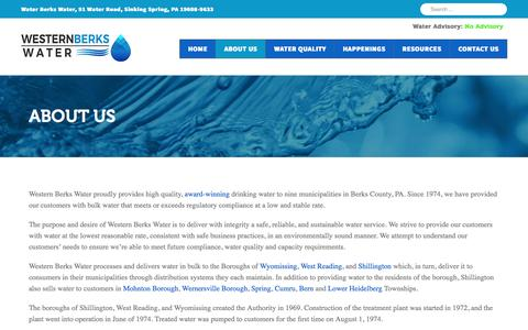 Screenshot of About Page wbwa.org - Western Berks Water - Burks County, PA - Sustainable Water Service - captured Nov. 29, 2016