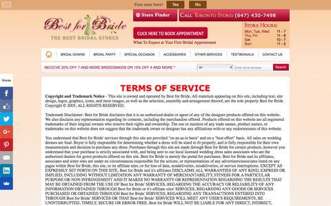 Screenshot of Terms Page bestforbride.com - Bridal Shops Toronto Wedding | Terms of Service - captured Aug. 1, 2018