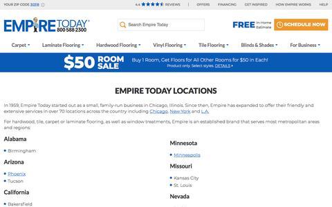 Screenshot of Locations Page empiretoday.com - Empire Today Locations | Empire Today - captured June 25, 2019