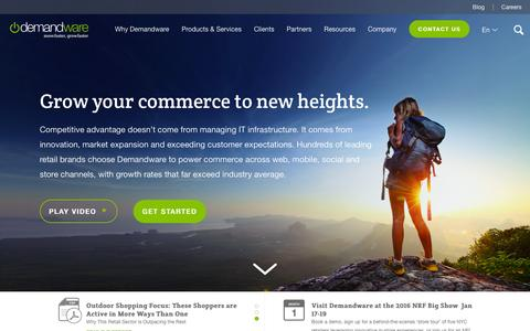 Screenshot of Home Page demandware.com - eCommerce Software Platform | Demandware - captured Jan. 6, 2016