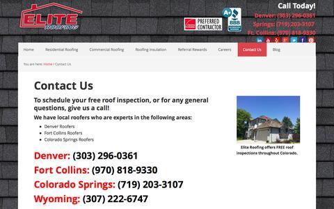 Screenshot of Contact Page eliteroofingcolorado.com - Contact Us | Elite Roofing Colorado | Denver Roofers - captured Nov. 1, 2014