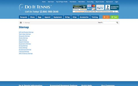 Screenshot of Site Map Page doittennis.com - Sitemap DoItTennis - captured Sept. 24, 2014