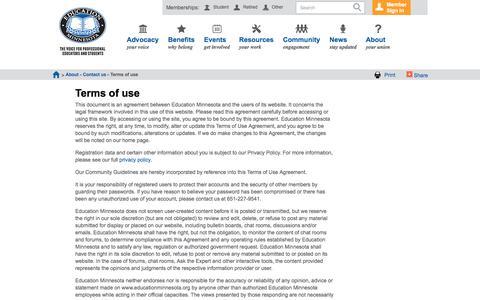 Screenshot of Terms Page educationminnesota.org - Education Minnesota - Terms of use - captured July 11, 2016