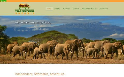 Screenshot of Home Page transtreksafaris.co.uk - Transtrek Safaris - Affordable | Safari tours in East Africa | TranstrekSafaris.com - captured Oct. 7, 2014