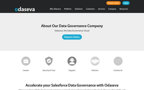 Screenshot of About Page odaseva.com - About Odaseva's Salesforce Data Governance Company - Odaseva Platform for enterprises - captured Jan. 9, 2020