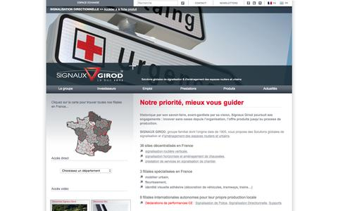 Screenshot of Home Page signaux-girod.fr - Signalisation routière - Fabricant de Mobilier Urbain - Marquage au sol | Signaux Girod - captured Sept. 30, 2015