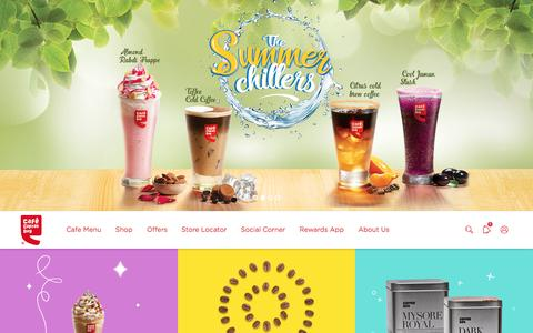 Screenshot of Home Page cafecoffeeday.com - Café Coffee Day | A Lot Can Happen Over Coffee - captured May 13, 2017