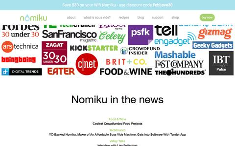 Screenshot of Press Page nomiku.com - Press | Nomiku - captured Feb. 2, 2017