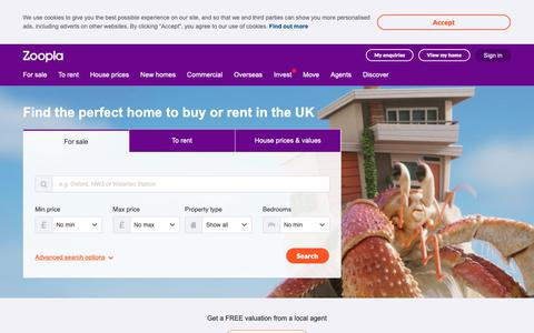 Screenshot of Home Page zoopla.co.uk - Zoopla > Search Property to Buy, Rent, House Prices, Estate Agents - captured Dec. 27, 2018
