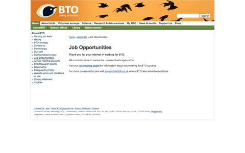 Screenshot of Jobs Page bto.org - Job Opportunities | BTO - British Trust for Ornithology - captured Nov. 23, 2016