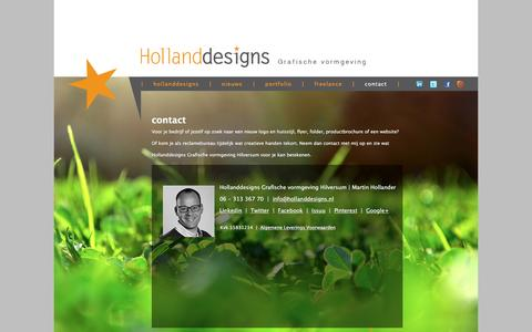 Screenshot of Contact Page hollanddesigns.nl - contact | Hollanddesigns Grafische vormgeving Hilversum - captured Nov. 10, 2016